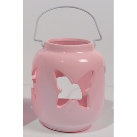 """5.25"""" Capri Boulevard Pastel Coral Pink Butterfly Tea Light Candle Holder"""