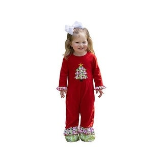 AnnLoren Baby Girls Red Christmas Tree Patch Ruffle Romper
