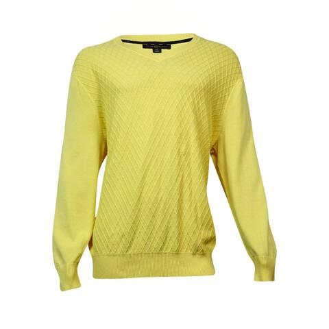 Club Room Men's Diamond-Knit Pattern V-Neck Sweater (Magnolia, LT) - Yellow - LT