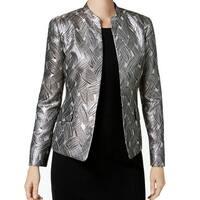 Kasper Beige Champagne Womens Size 6 Metallic Jacquard Jacket