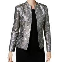Kasper Beige Champagne Womens Size 6 Shimmer Jacquard Jacket