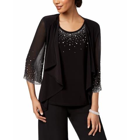 MSK Womens Blouse Black Size Medium M 2PC Embellished Chiffon Draped