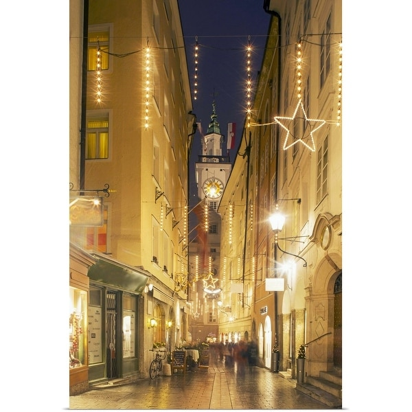 """Street light in old Salzburg"" Poster Print"