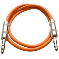 "SEISMIC AUDIO - Orange 1/4"" TRS 2' Patch Cable  Effects"