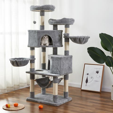 Multi-Level Cat Tree and Shelves with Flexible Pole Covered with Sisal