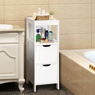 Gymax Bathroom Floor Cabinet Multifunctional Bathroom Storage Organizer W/2 Drawers