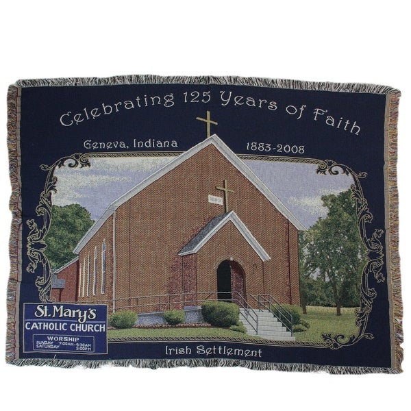 "Navy Blue and Brown St. Mary's Catholic Church Tapestry Throw Blanket 50"" x 70"""
