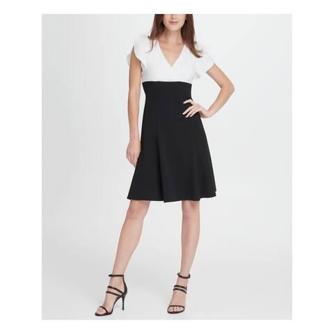 DKNY Black Petal Sleeve Above The Knee Fit + Flare Dress Size 14