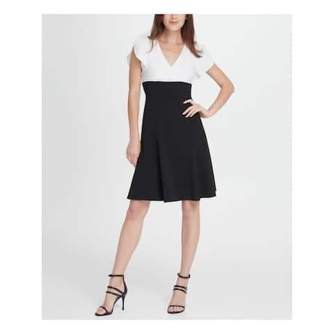 DKNY Black Petal Sleeve Above The Knee Fit + Flare Dress Size 8