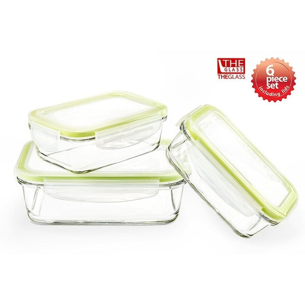 The Glass 6 Piece Rectangular Food Storage Container Set Free