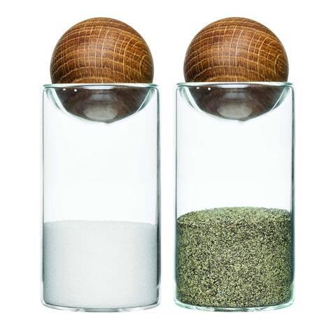 Sagaform Oak Wood and Glass Salt and Pepper Set - Mid-Century Modern Sleek Minimalist Design Salt & Pepper Shakers
