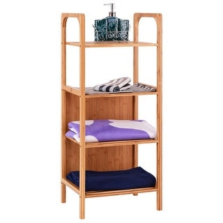 Costway 4 Tier Bamboo Bathroom Shelf Storage Unit Tower Rack Plants Stand Multifunction  sc 1 st  Overstock.com & Shop Costway 4 Tier Bamboo Bathroom Shelf Storage Unit Tower Rack ...
