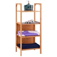 Costway 4 Tier Bamboo Bathroom Shelf Storage Unit Tower Rack Plants Stand Multifunction