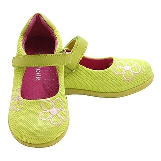 Toddler Little Girl Lime Green Mesh Flower Mary Jane Shoe 5-2