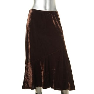 NY Collection Womens Velvet Pull On Flounce Skirt - S