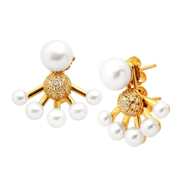 Honora Convertible Freshwater Button Pearl Jacket Earrings With Swarovski Elements Zirconia in 18K Gold-Plate