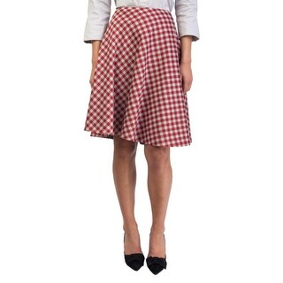 Prada Women's Wool Silk Blend Plaid Print Skirt Red - 8