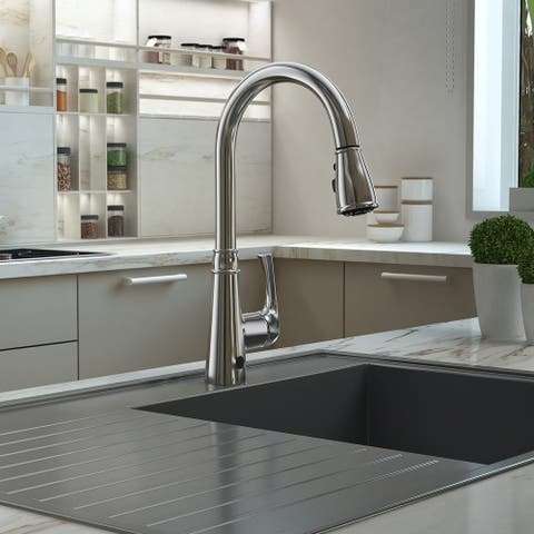 Moorea Collection. Sensor pull-down kitchen faucet. Chrome finish. By Lulani