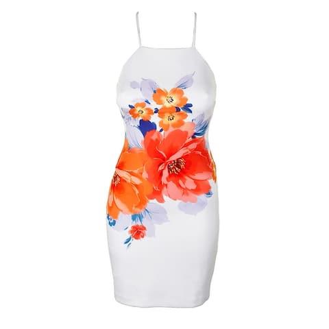 Guess White Coral Spaghetti Strap Placed-Floral Apron Sheath Dress 14