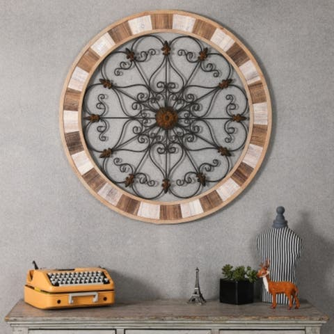 Round Wood and Metal Wall Medallion