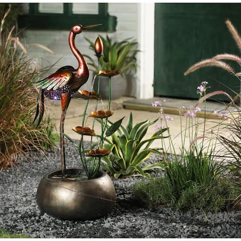 Metal Crane and Flowers Outdoor Resin Fountain with Solar Light