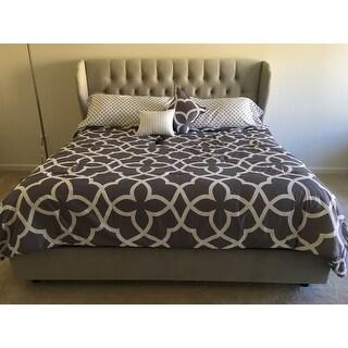 Tufted Wingback Bed in Velvet Light Grey- Skyline Furniture