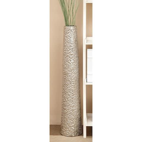Silver Ceramic Glam Floor Vase