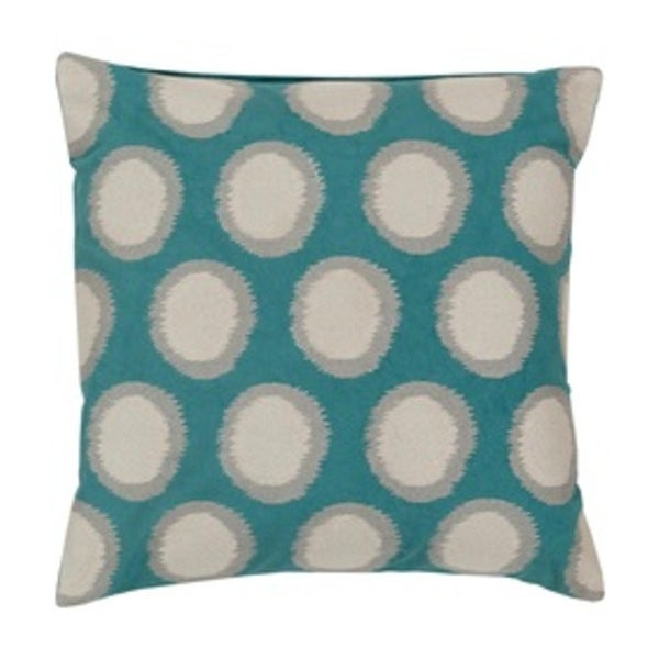 "20"" Ecliptic Dark Cyan Blue and Ash Gray Decorative Square Throw Pillow"