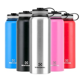 Winterial 40 oz Stainless Steel Insulated Double Walled Wide Mouth HOT & COLD Premium Water Bottle