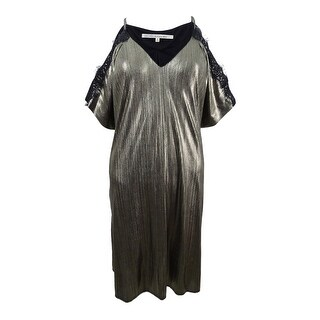 Rachel Rachel Roy Women's Cold-Shoulder Lace & Metallic Dress - GOLD