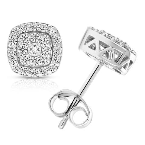 1/2 cttw Round Diamond Stud Earrings in .925 Sterling Silver With Rhodium Cushion