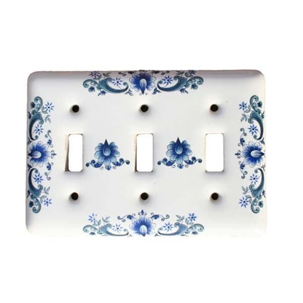 Porcelain Switch Plate Triple Toggle Delft Blue Wall