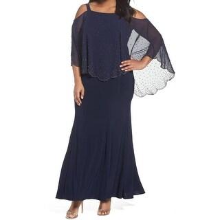 Xscape Navy Womens Plus Embellished Sheath Dress