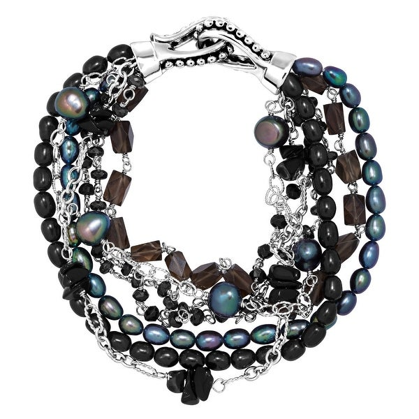 Honora Seven Strand Bracelet with Freshwater Pearl, Onyx, Hematite & Smoky Quartz in Sterling Silver