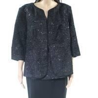 Alex Evenings Black Womens Size 1X Plus Scoop Neck Jacket Set