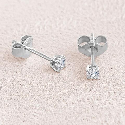 White Gold 1/4 Carat Diamond Stud Earrings ( Clarity I2-I3 ) - 1/4 Carat