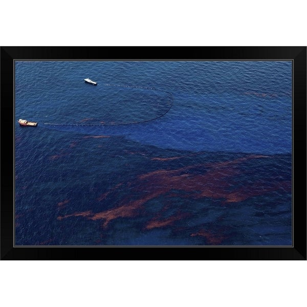 """Two Boats Skim Oil off the Surface of the Gulf"" Black Framed Print"