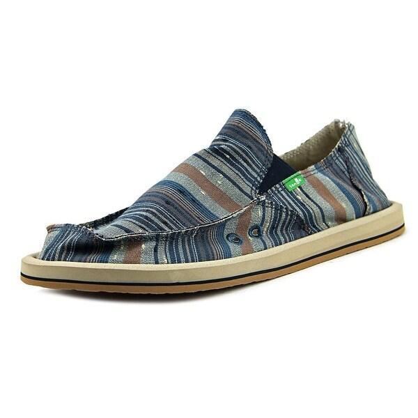 Sanuk Donny Men Blue Vintage Denim Stripe Loafers