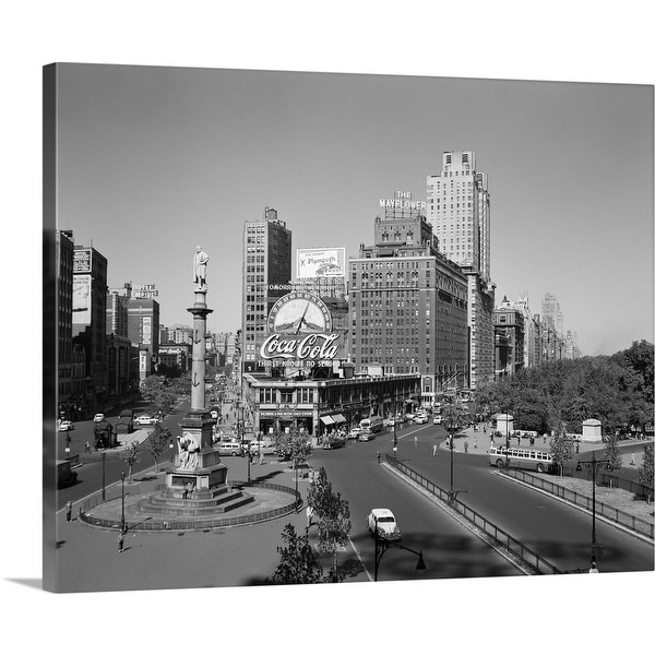 """1950's Columbus Circle Looking North Manhattan New York City USA"" Canvas Wall Art"