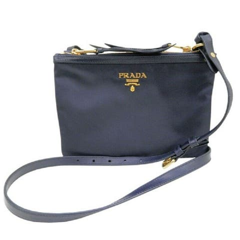 Prada Womens Tessuto Nylon Blue Double Zip Crossbody Bag
