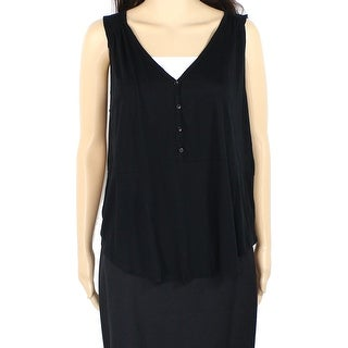 Lush NEW Black Women's Size Large L Tank Cami Seamed Solid Henley Blouse