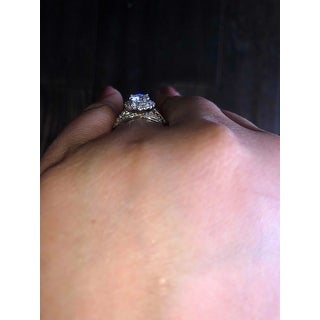 Moissanite by Charles & Colvard 14k Gold 1.30 TGW Round Halo Engagement Ring