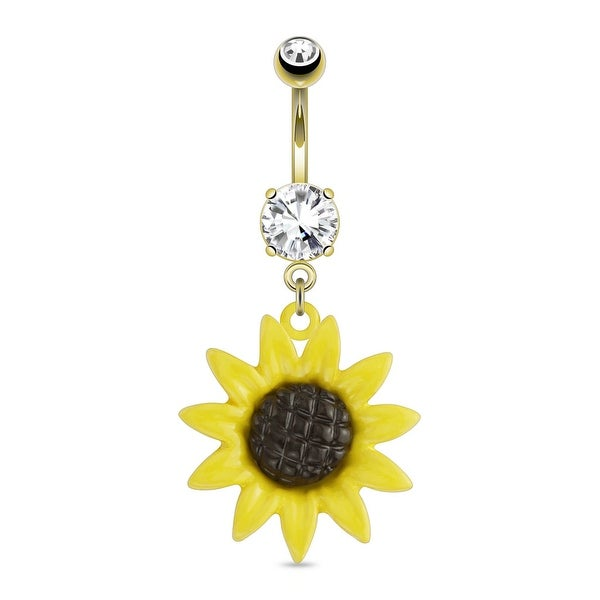 Sunflower Dangle With CZ gold-plated Navel Belly Button Ring