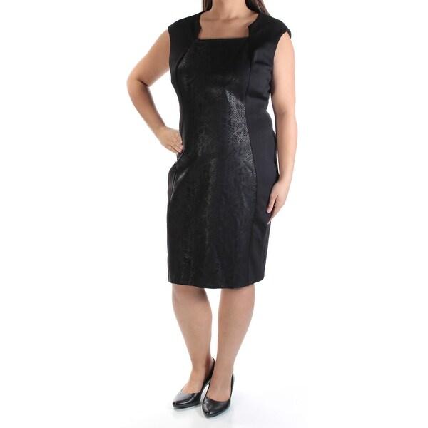 Shop Calvin Klein Womens Black Animal Print Cap Sleeve Queen Anne