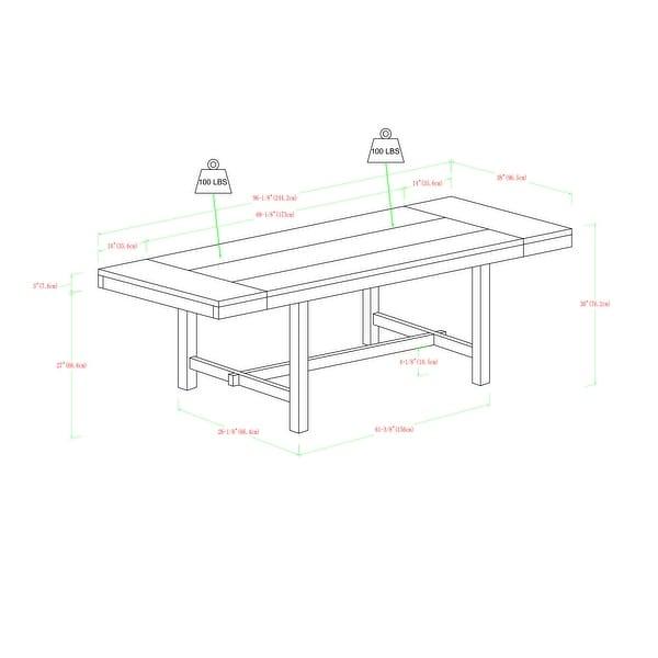 68-inch Rustic Dark Oak Wood Trestle Base Dining Table