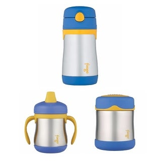 THERMOS FOOGO Vacuum Insulated Straw Bottle w/ Food Jar & Sippy Cup Bundle
