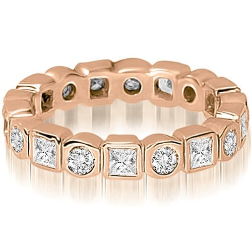 1.45 cttw. 14K Rose Gold Round and Princess Diamond Eternity Ring