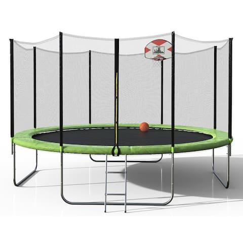 Merax Round Trampoline with Basketball Hoop