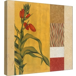 """PTM Images 9-98985  PTM Canvas Collection 12"""" x 12"""" - """"Collage With Red Lily #3"""" Giclee Flowers Art Print on Canvas"""