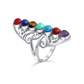 Bling Jewelry 925 Sterling Silver Natural Gemstone Chakras Statement Ring